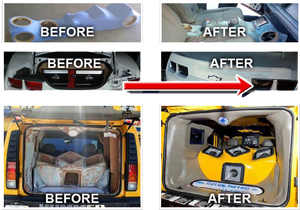 before and after car installation
